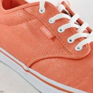 VANS Orange Paisley Floral Texture Low Top Sneaker